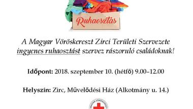 Ruhaosztás - Zirc. 2018. szeptember 10., hétfő