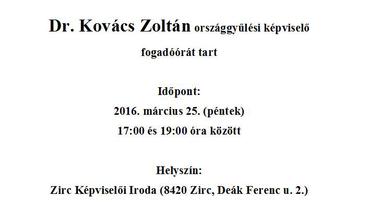 Fogadóóra - Dr. Kovács Zoltán, országgyűlési képviselő