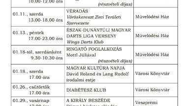 A Békefi Antal Városi Könyvtár, Művelődési Ház és Stúdió KB januári programajánlója