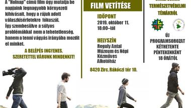 Ma vetítik a HOLNAP című filmet - a Reguly múzeumban (2019.10.11.)