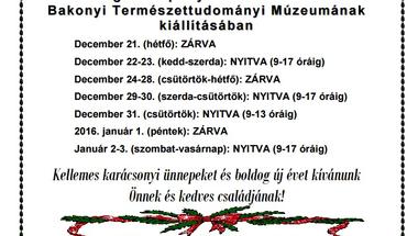 Év végi ünnepi nyitva tartás az MTM Bakonyi Természettudományi Múzeumának kiállításában