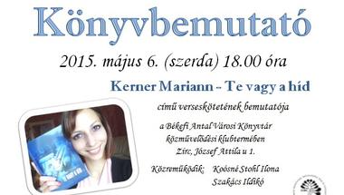 Kerner Mariann verseskötetének bemutatója a Békefi Antal Városi Könyvtár közművelődési klubtermében
