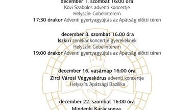 A Zirci Ciszterci Apátság adventi programsorozata - 2018.
