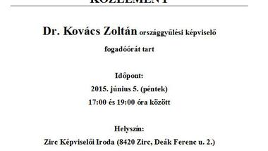 Fogadóóra - Dr. Kovács Zoltán országgyűlési képviselő