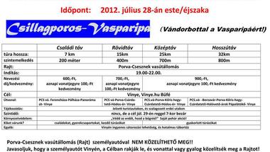 Éjszakai túrák Porva-Csesznekről Vinyébe szombaton, július 28-án!
