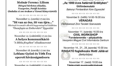 A Békefi Antal Városi Könyvtár, Művelődési Ház és Stúdió KB novemberi programajánlója