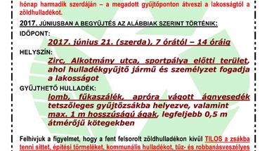 GYŰJTŐPONTOS ZÖLDHULLADÉK-GYŰJTÉS JÚNIUSBAN