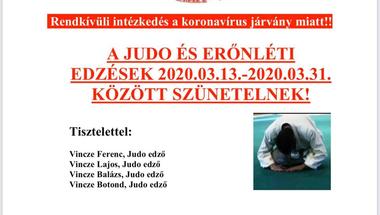 A judo erőnléti edzések szünetelnek 2020.03.31-ig