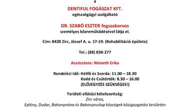 Fogászat Zirc - változás - 2021.