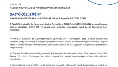 A Pangea Kulturális és Környezetvédelmi Egyesület Pénzesgyőrben sikerrel zárta TÁMOP-1.4.1. pályázatát