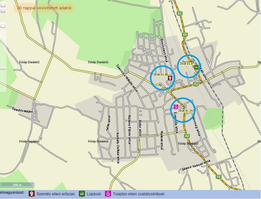 zirc térkép Zirc januári bűnügyi térképe   ZIRCINFO