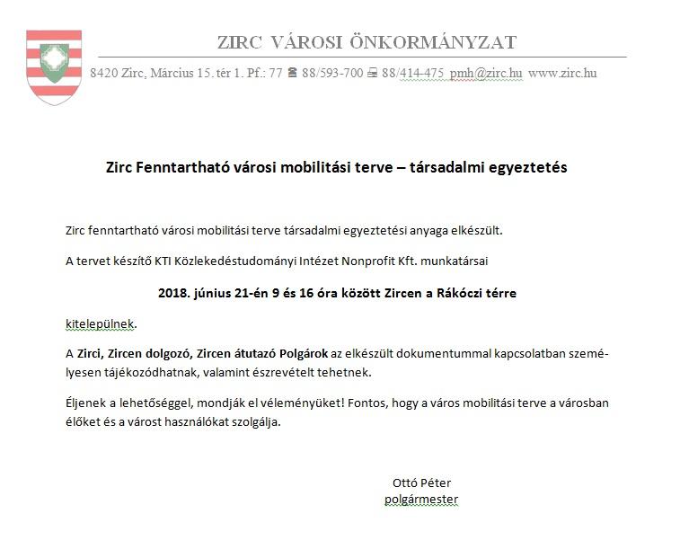 e02e22fdb1 Zirc Fenntartható városi mobilitási terve – társadalmi egyeztetés