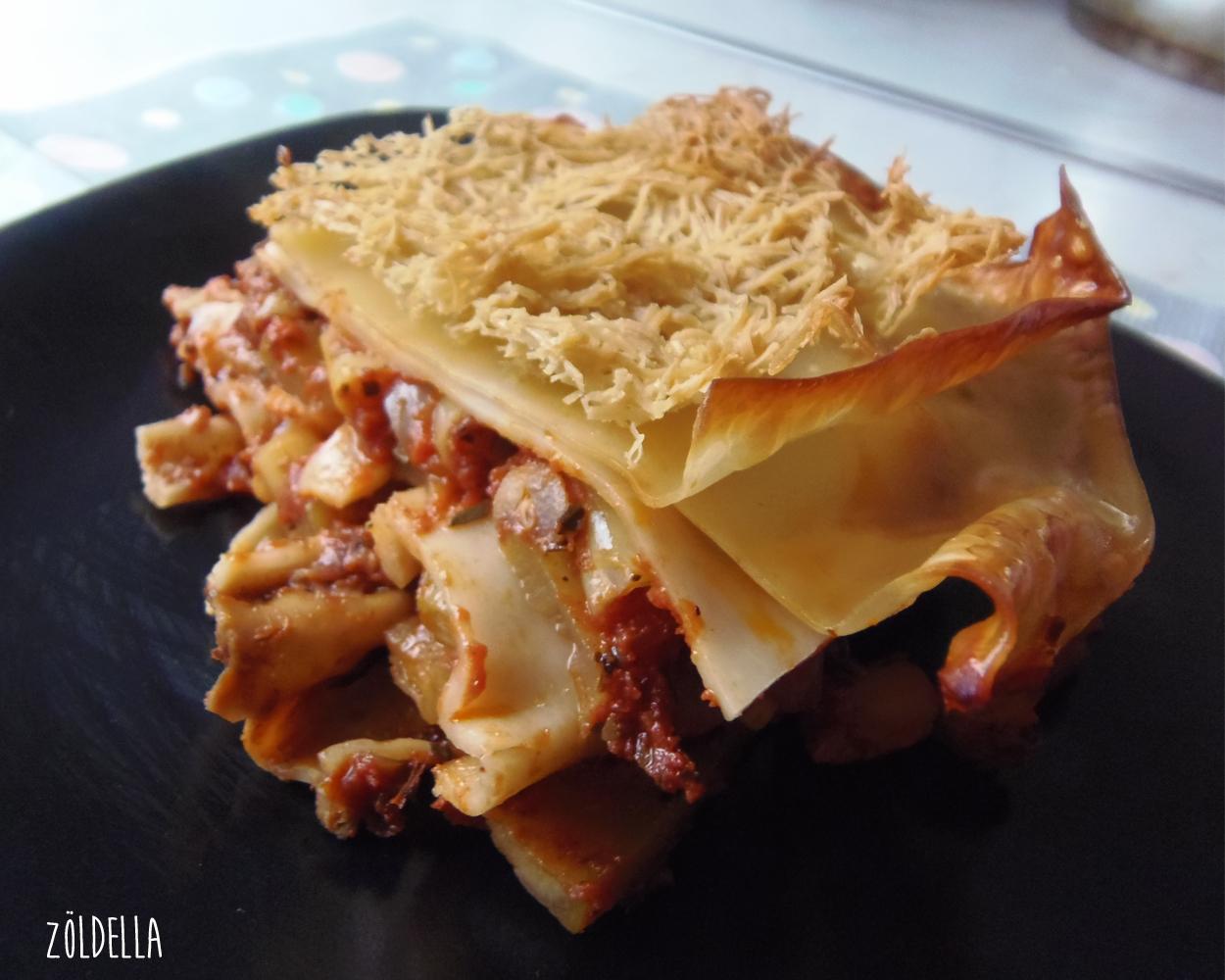 Zöldbabos cukkinis lasagne.