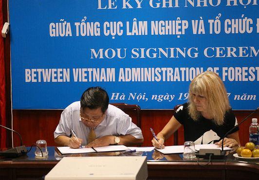A  The Memorandum of Understanding (MOU) aláírása a medve farmok felszámolásáról. Jill Robinson, az Animal Asia alapítója és<br />Cao Chi Cong, a Vietnámi Erdészeti Kabinet megbízott igazgatója szignálja a dokumentumot.