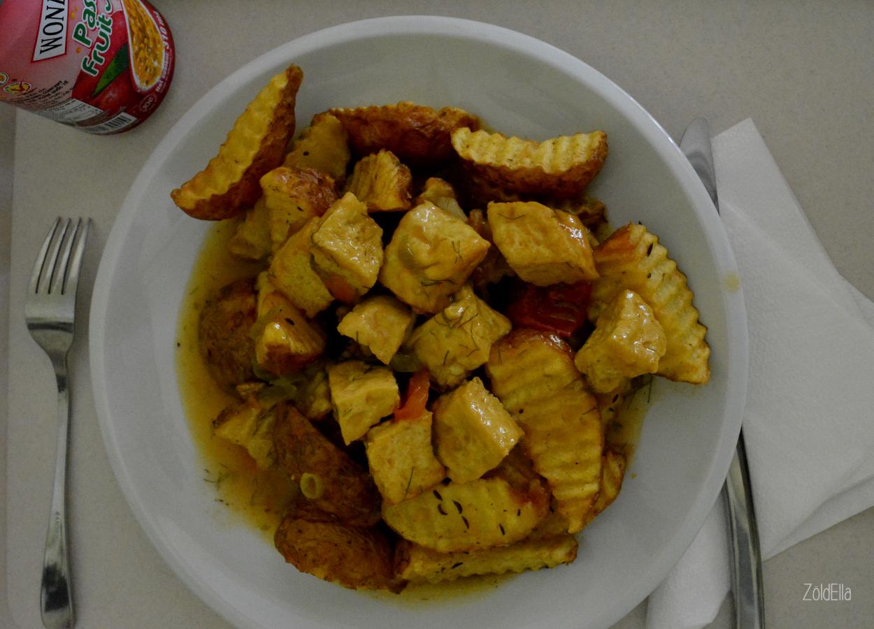 Kapros öntettel készült tofu sült krumplival