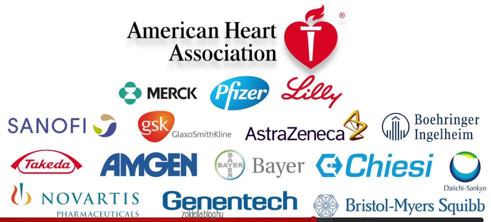 Az Amerikai Szív Társaság gyógyszeripari szponzorai