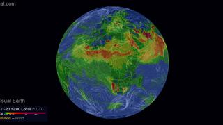 Animált földgömbön a légszennyezettség