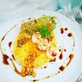 Sütőtökös rizottó garnélával, tökmag morzsával és tuile-al